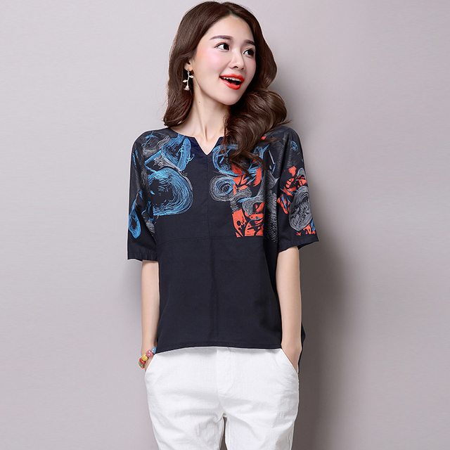 New 2016 Summer Real Fashion Women Tops Cotton Printing Folk Style Female Short Sleeved Shirt Bottoming  Large Size Tops 865H 25