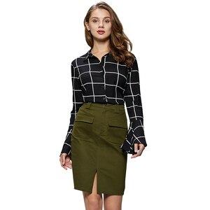 Image 2 - GLO STORY 2019 Fashion Summer Women Denim Pencil Split Skirt High Waist Sexy Work Wear Ladies Skirts WQZ 1803