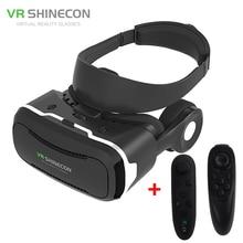 VR Shinecon 4.0 Виртуальная Реальность 3D Очки Фильм Шлем ПОЛЕ с Наушниками для 4-5.5 дюймов Смартфон + Игры контроллер