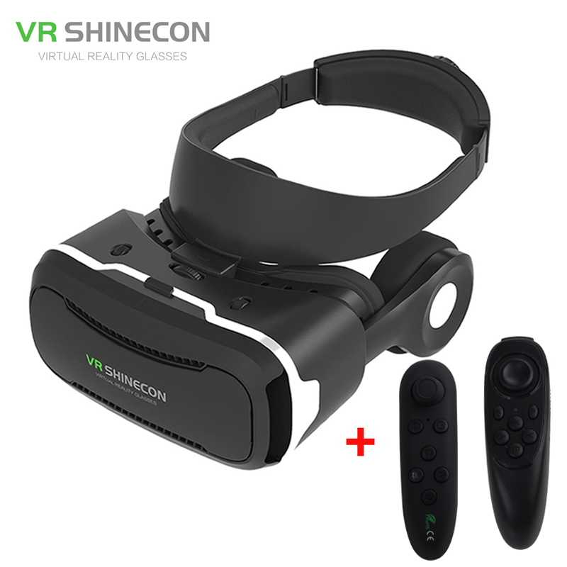 VR Shinecon <font><b>4</b></font>.0 <font><b>Virtual</b></font> <font><b>Reality</b></font> 3D Movie <font><b>Glasses</b></font> Helmet BOX with Headphones <font><b>for</b></font> <font><b>4</b></font> -5.5 inch Smartphone+Game <font><b>Controller</b></font>