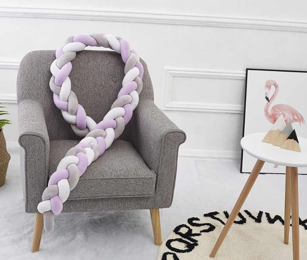 2 M Nordic Panjang Diikat Braid Bantal Bayi Bantal Tempat Tidur Bumper Di Tempat Tidur Sofa Bayi Dekorasi Kamar Bayi foto