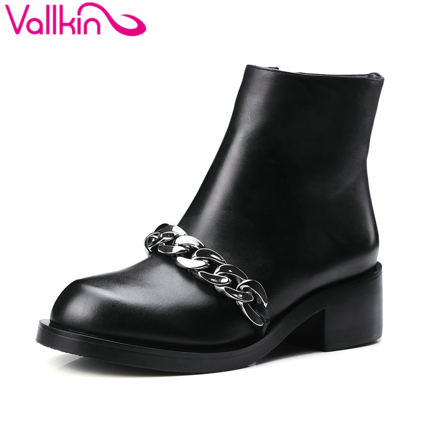 ФОТО VALLKIN 2016  Ankle Boots PU+Real Leather Autumn Women Round Toe Shoes Fashion Link Square Mid Heel Women Boots Size 34-39