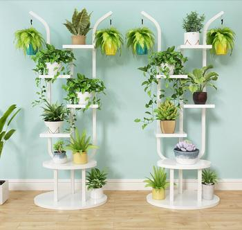 Balcony flower rack, iron art shelf, household indoor green lotus pendant orchid rack decoration living room floor style