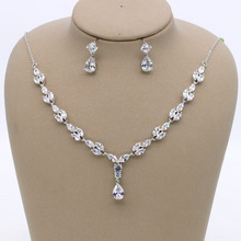 SLBRIDAL Stunning Copper Alloy Wedding Cubic Zircon Jewelry Set Bridal CZ Necklace Earring Set Banquet Party Jewelry Set Women 2018 new fashion green square cz zircon necklace earring bracelet ring wedding bridal banquet dinner dressing jewelry set