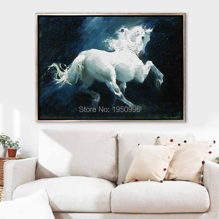 High Quality Cheap Price Art Pictures Running White Horse