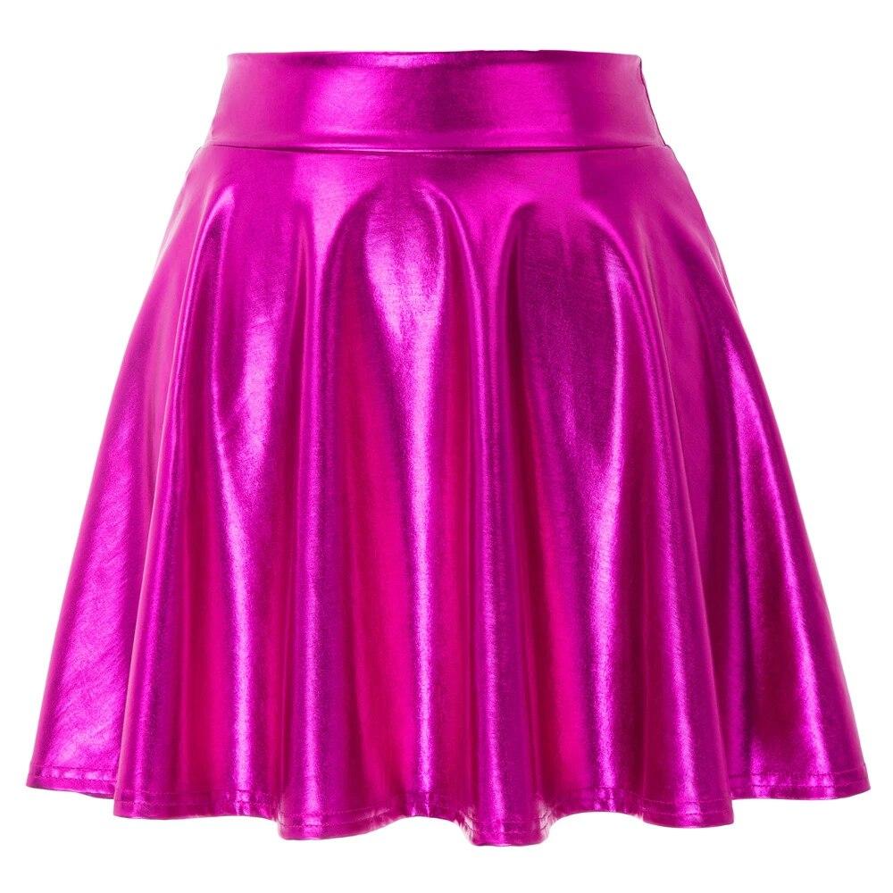 Kate Kasin Womens Casual Fashion Shiny Metallic Skirt Night Out Women