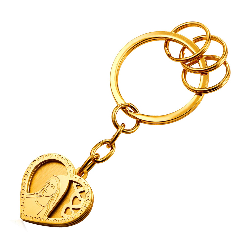 New Hot Blessed Virgin Mary Key Charms Bag Keyrings Yellow Gold Color Love Heart Key Chain Women Valentines Day Gift GK1814 ...