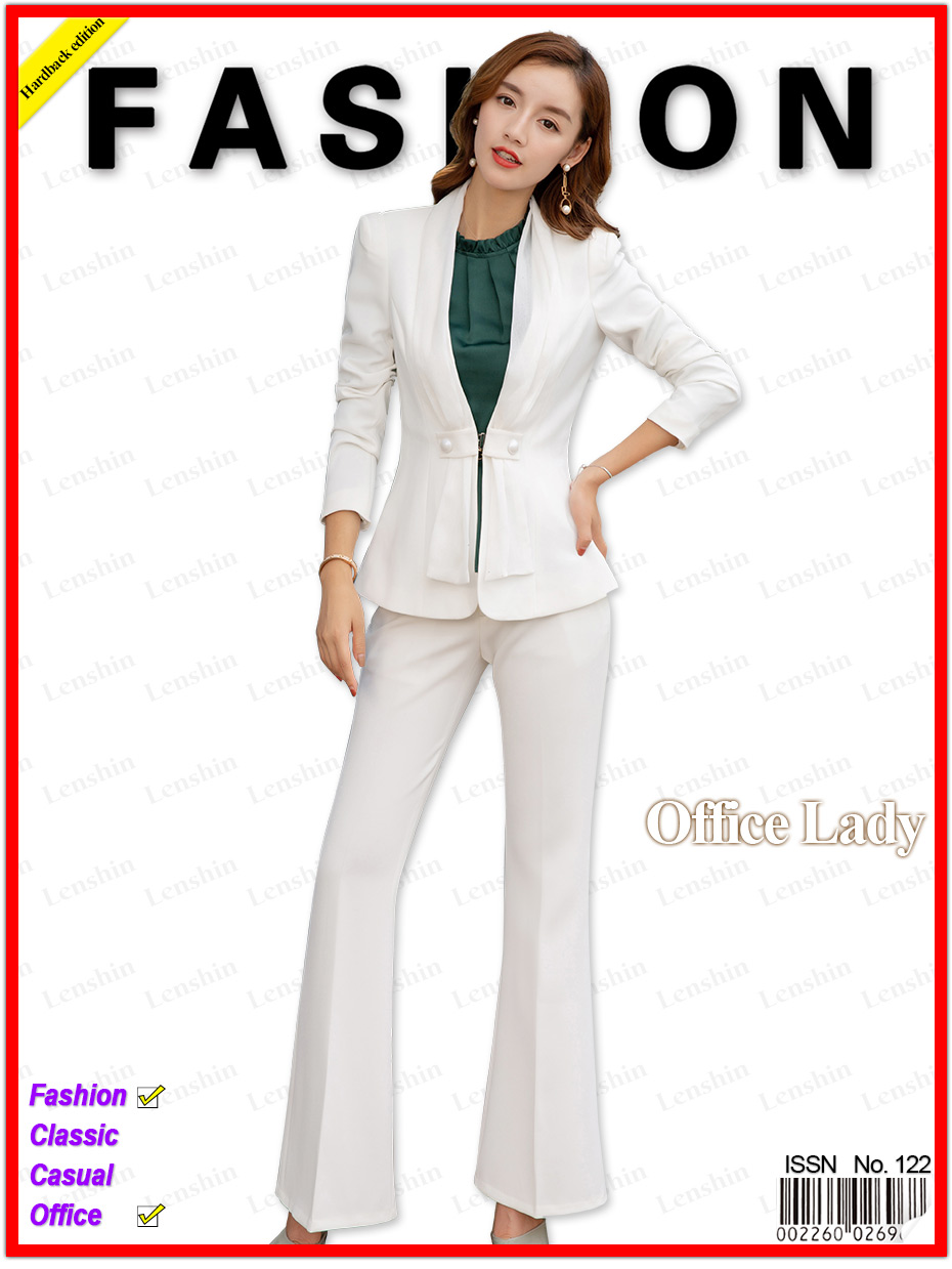 05234a3f US $52.92 7% OFF|Lenshin 2 Pieces Set Street Wear Women Suit with Scarf  Office Lady Fashion Style V Neck Jacket and Bell bottom Trousers-in Pant  Suits ...