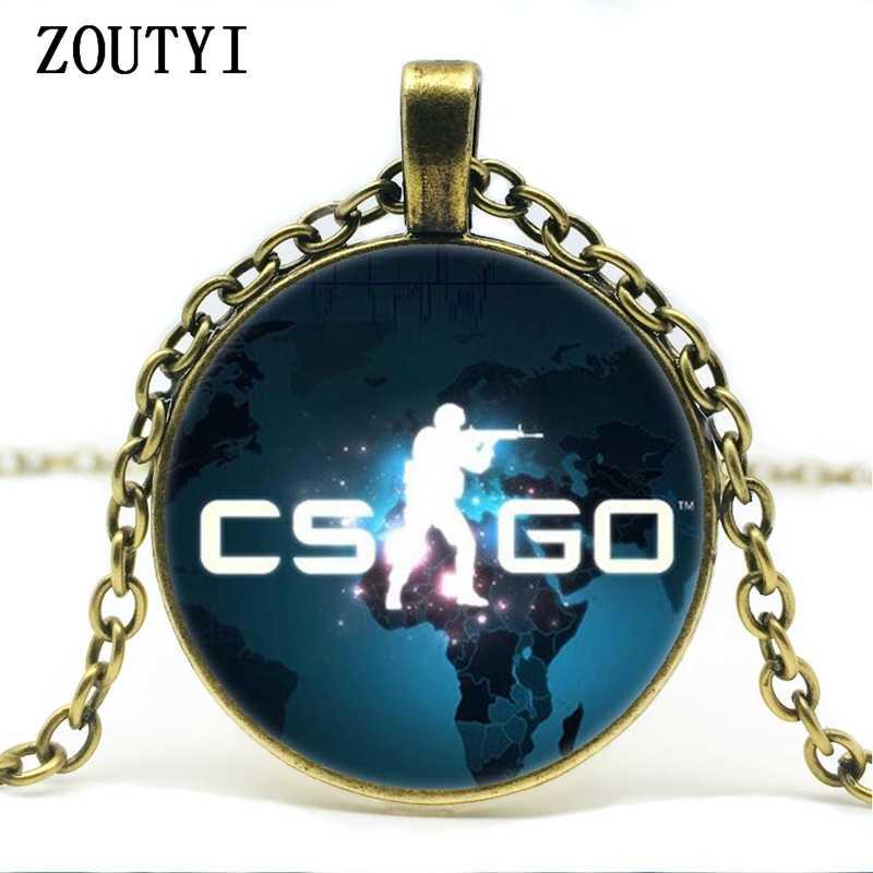 2018/gra CS GO szklany łańcuszek naszyjnik mężczyźni CSGO anime bez kołnierza mężczyzna Collier Homme wisiorek typu statement biżuteria najlepszy prezent