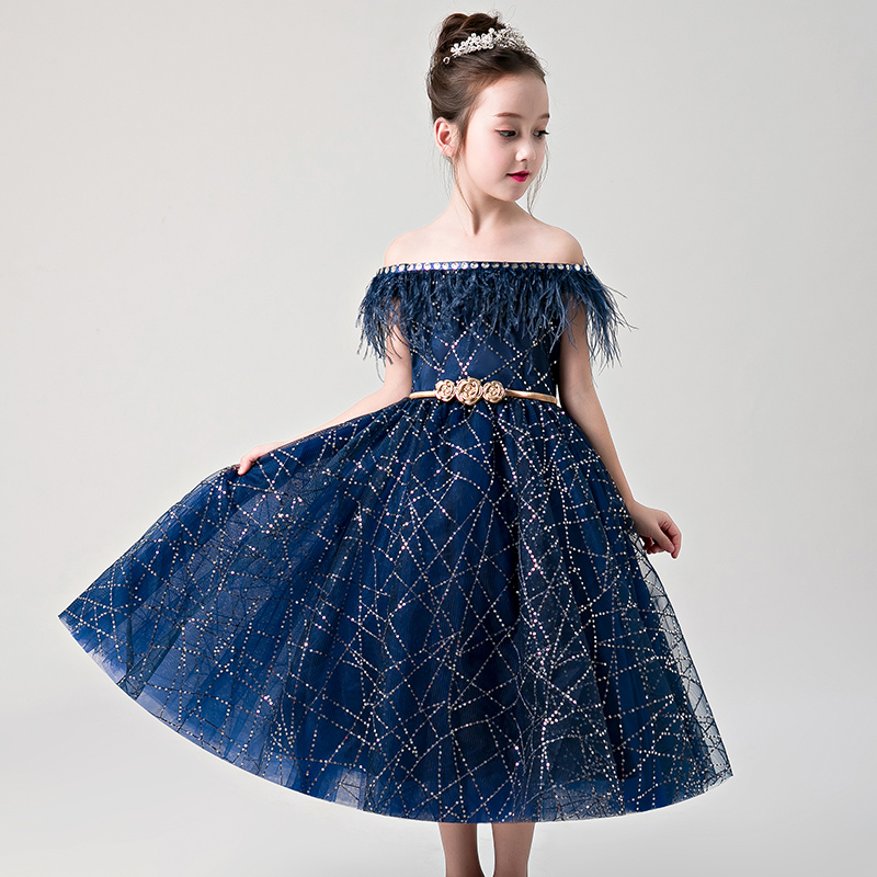 New Girl Wedding Dress Shoulderless Royal Blue Lace First communion Dress For Party Princess Tulle Long