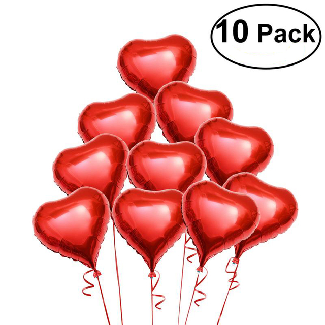 10pcs Red Heart Shape Foil Balloons Valentines Day Wedding