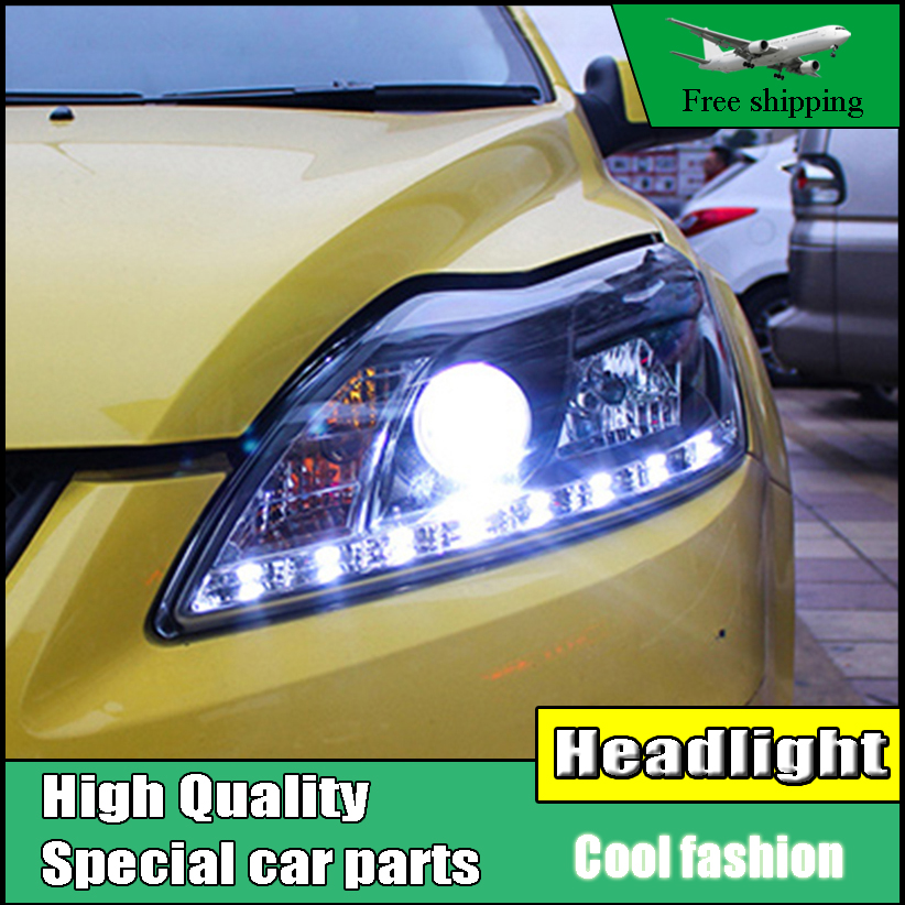 high quality Car styling Head Lamp case For Ford Focus MK2 2009-2013 Headlights LED Headlight DRL Lens Double Beam HID Xenon hireno headlamp for 2013 2015 ford kuga escape se headlight headlight assembly led drl angel lens double beam hid xenon 2pcs
