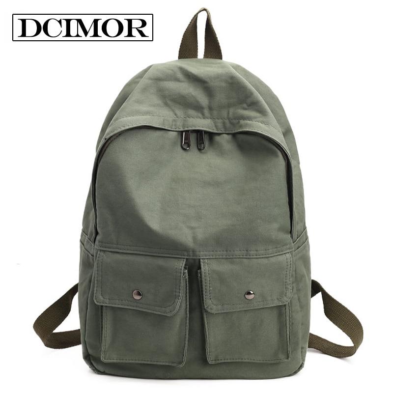 DCIMOR Women Backpack Teenagers Girls School Bag Ladies Cotton Fabric Backpack Female Back Pack Women Travel