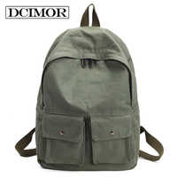 DCIMOR Women Backpack Teenagers Girls School Bag Ladies Cotton Fabric Backpack Female Back Pack Women Travel Backpack Mochila