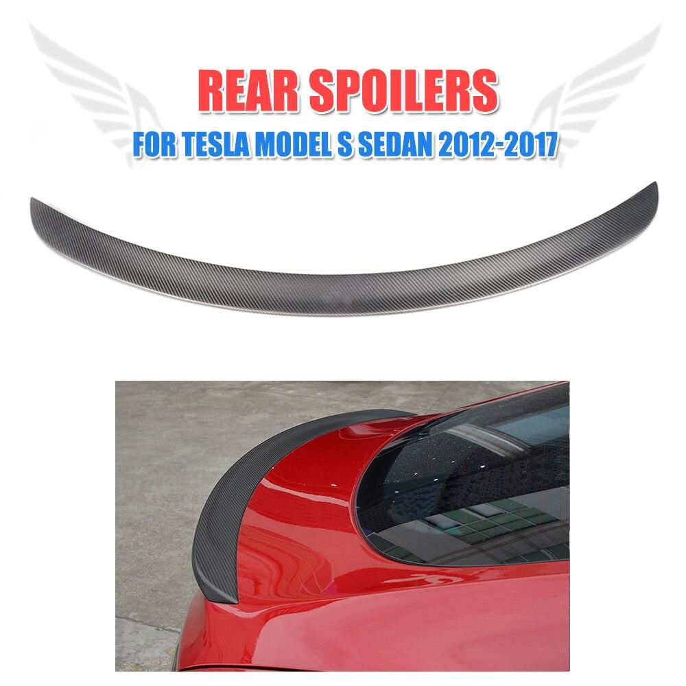 Matt Gloss carbon fiber Rear Trunk Boot Spoiler Wing Trim Sticker Fit for Tesla Model S Sedan 4-Door 2012-2017 Car Tuning Parts for nissan skyline r32 gtr gtst frp fiber glass nismo trunk boot lip spoiler wing