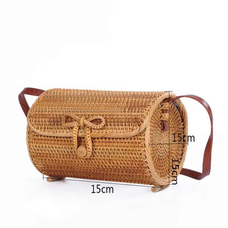 Paja para mujeres bolsos de mimbre tejido verano playa para las damas Babi  rota bolsos femeninos 3326ee58afa