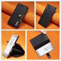 DG MING For Sony Xperia XZ Luxury Genuine Leather Case Wallet Flip Cover 2 In 1