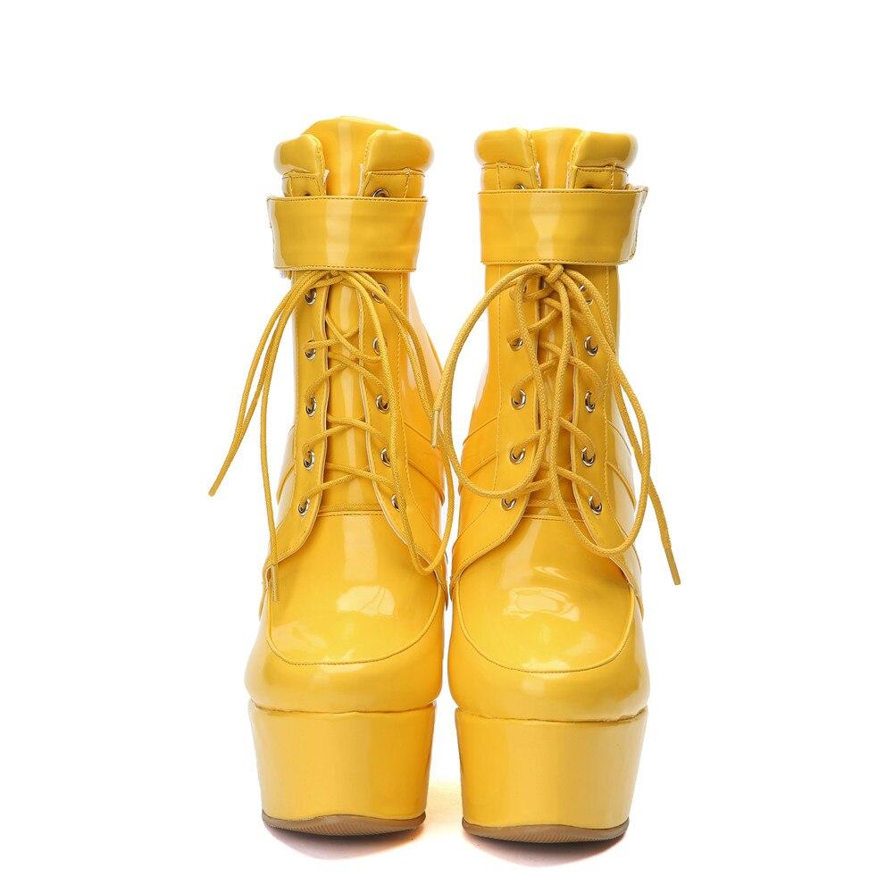 Pu Gelb Neue Up Heels Casual Schuhe Keile High Frau Sarairis 34 Stiefeletten Fashion Plus Größe Spitze Herbst 47 Patent Plattform Winter wRI1xWFq