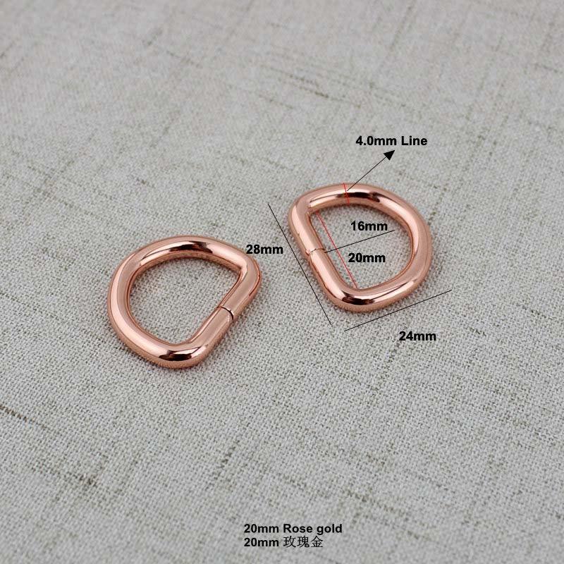 10pcs 50pcs 25mm 32mm 38mm Rose gold Opened d ring belt buckle 0106a3b6cc95