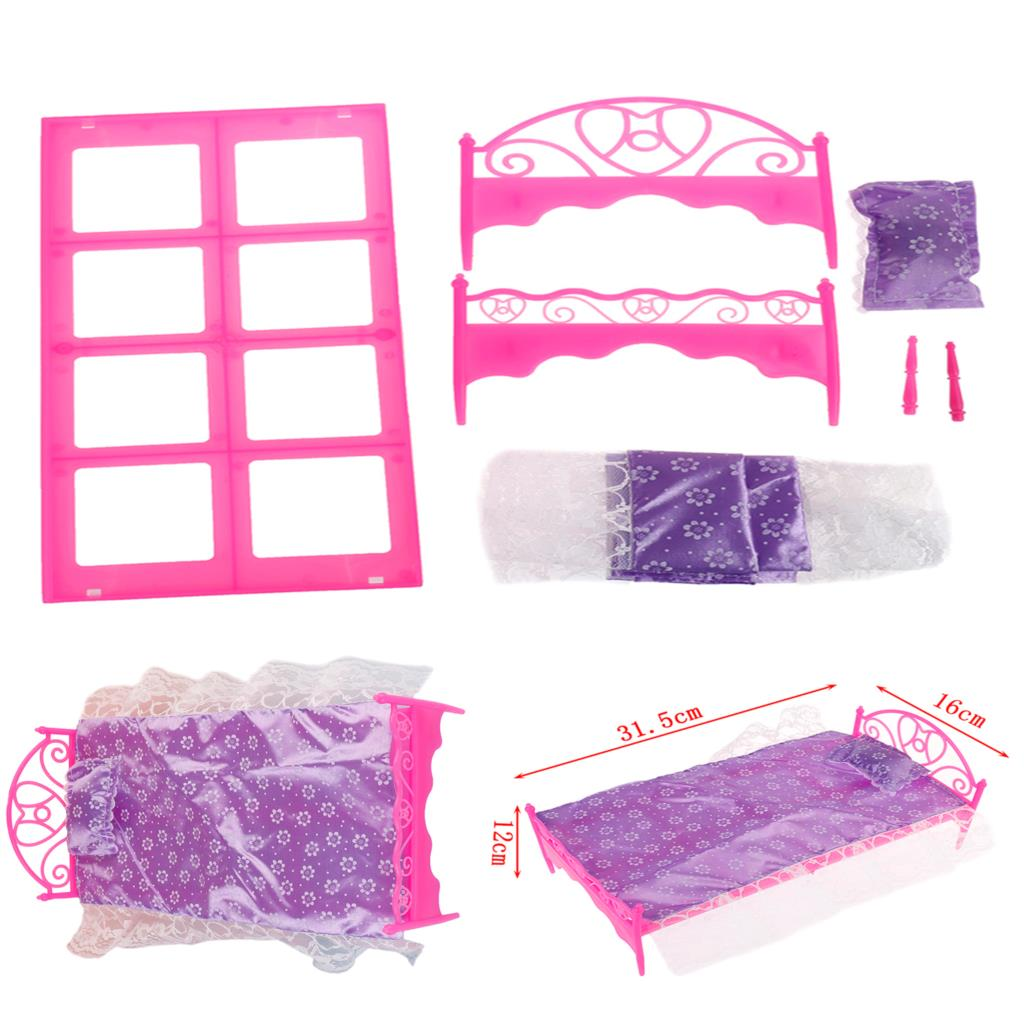 Fingir jogar brinquedo para crianças cama de plástico quarto móveis para bonecas dollhouse móveis brinquedo cor rosa