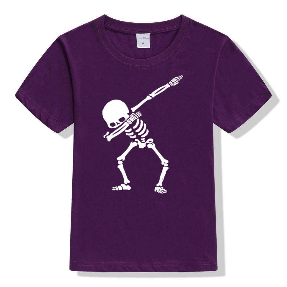 Colek Tengkorak Kerangka Anak-anak Unisex T-shirt Anak Laki-laki Perempuan Musim Panas Gaya Lengan Pendek Atasan Kaos Anak Kaos Kasual T Shirt