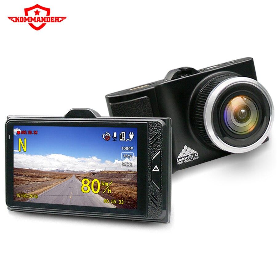 KOMMANDER nascosto hd di visione notturna dell'automobile DVR 1296 P macchina fotografica di GPS dash fotocamera da 2 e 1 A7LA50 ad alta velocità DVR radar detector