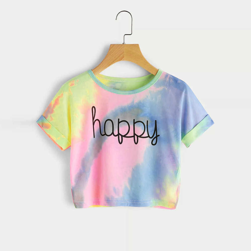 Camisa feminina Sommer Frauen T Shirts Gradient Brief Drucken Tops Frauen Damen Kurzarm Tops Casual T-shirt Tie dye Xew