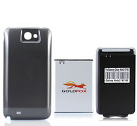 GOLDFOX Gray Extended Replacement 6200mAh Battery Gray Black Back Case USB Wall Charger For Samsung Galaxy