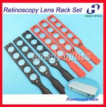 Lente de retinoscopia optálmica óptica rack conjunto de lentes de teste plástico barra alumínio caso placa lentes 6 barras 30 lentes
