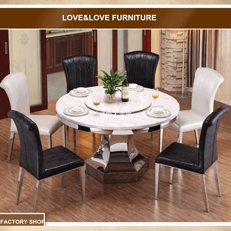 6 plazas mesa de comedor redonda marco de acero inoxidable mesa de ...