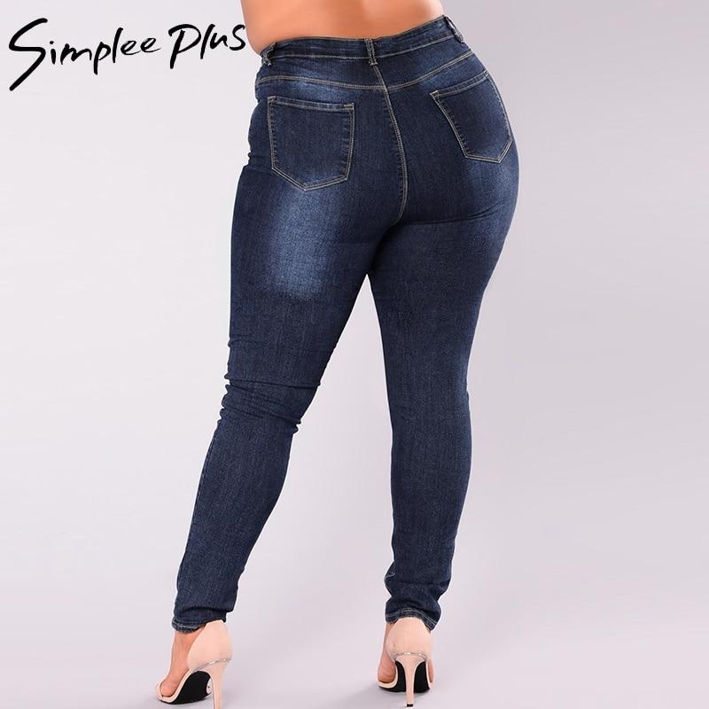 f05b1fda2 Simplee Plus Jeans Women 2018 Plus Size High Waist Jeans Full Length  Fashion Skinny Pencil Stretch Denim Pants Jeans XXL-7XL