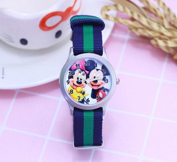 2018 Newest Cartoon Cut Mickey Minnie kids Nylon Strap Clock Watch Girls Student