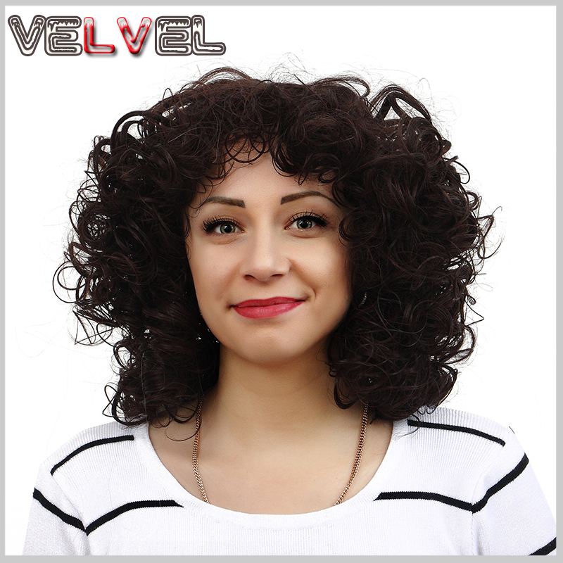 Perruque Afro Kinky Curly Wigs Synthetic for Black Women African American Short Dark Brown Cosplay VELVEL