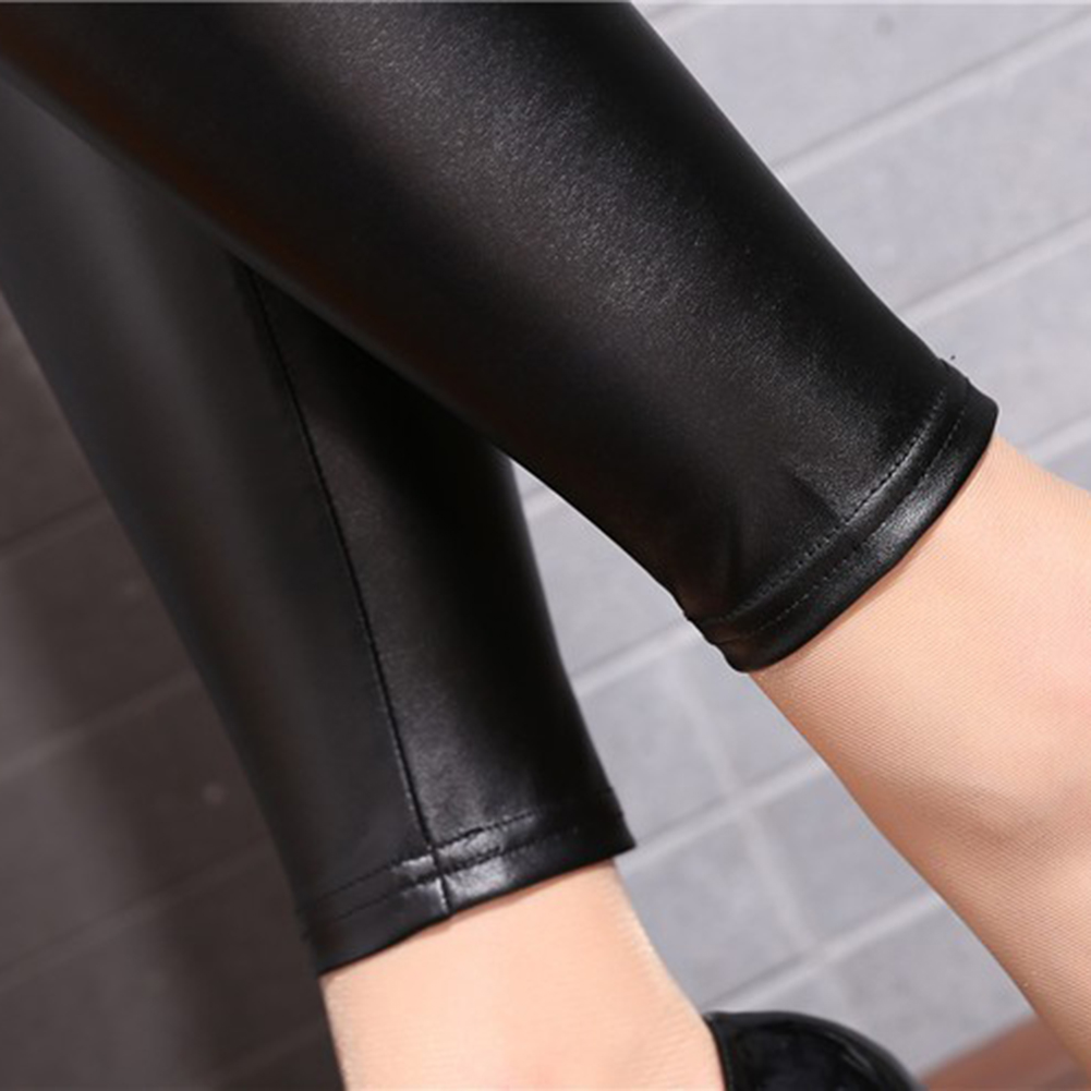 Women Skinny Faux Leather Stretchy Pants Tight Trousers Fashion Women Autumn Office Lady High Waist Trousers 6