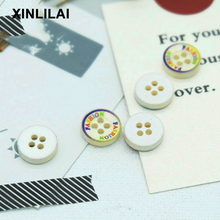 11.5MM 100pcs Resin Beige Lace Buttons Round Four Holes Wooden Shirt DIY Sewing Fastener Decorative Circle