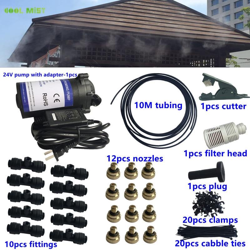 S193 24V new pump with 10M 1 4 tubing 12pcs nozzles mister 10pcs slip lock fitting