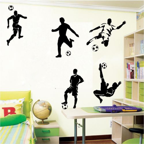 5 Football and Famous Soccer Players Wall Stickers Home Decor Wall Decal For Kids Room Sport Boy Bedroom Mural Wallpaper