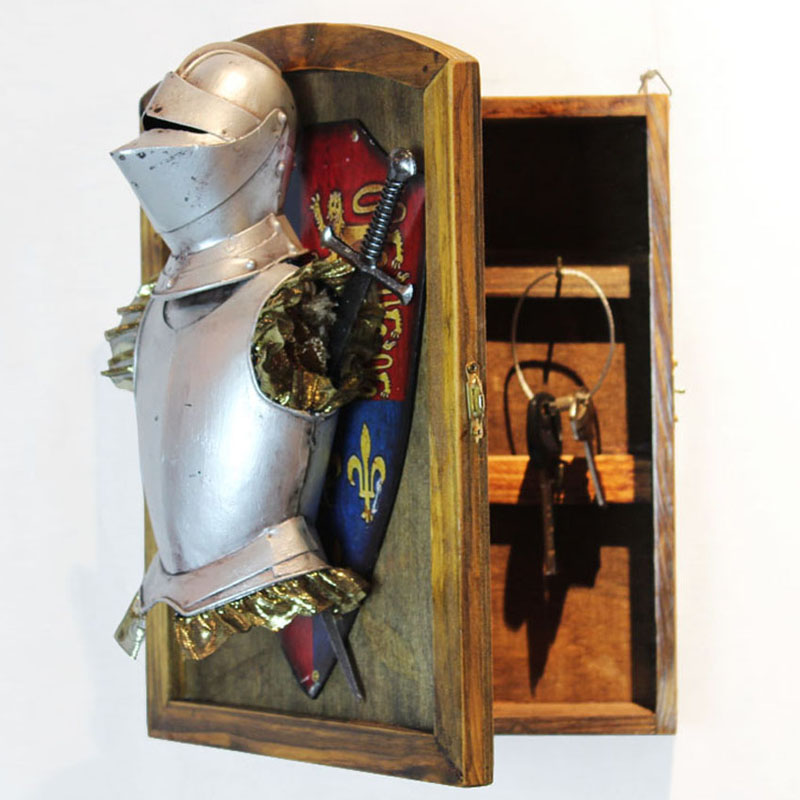 Medieval European style nostalgic wall ornaments armor decoration key box living room cafe restaurant entrance decoration