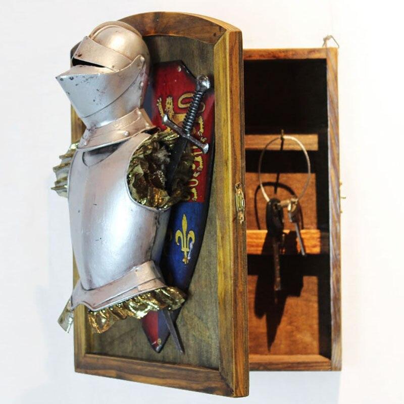 Средневековый европейский стиль ностальгические настенные украшения Броня Украшения Ключ коробка гостиная кафе ресторан вход украшения