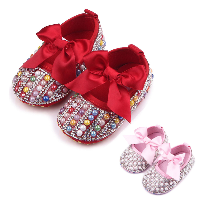Summer Spring Baby Girl Shoes Soft Bottom Toddler Girls Princess First Walkers Pearls Bow Bebe Kids Crib Shoes Prewalkers
