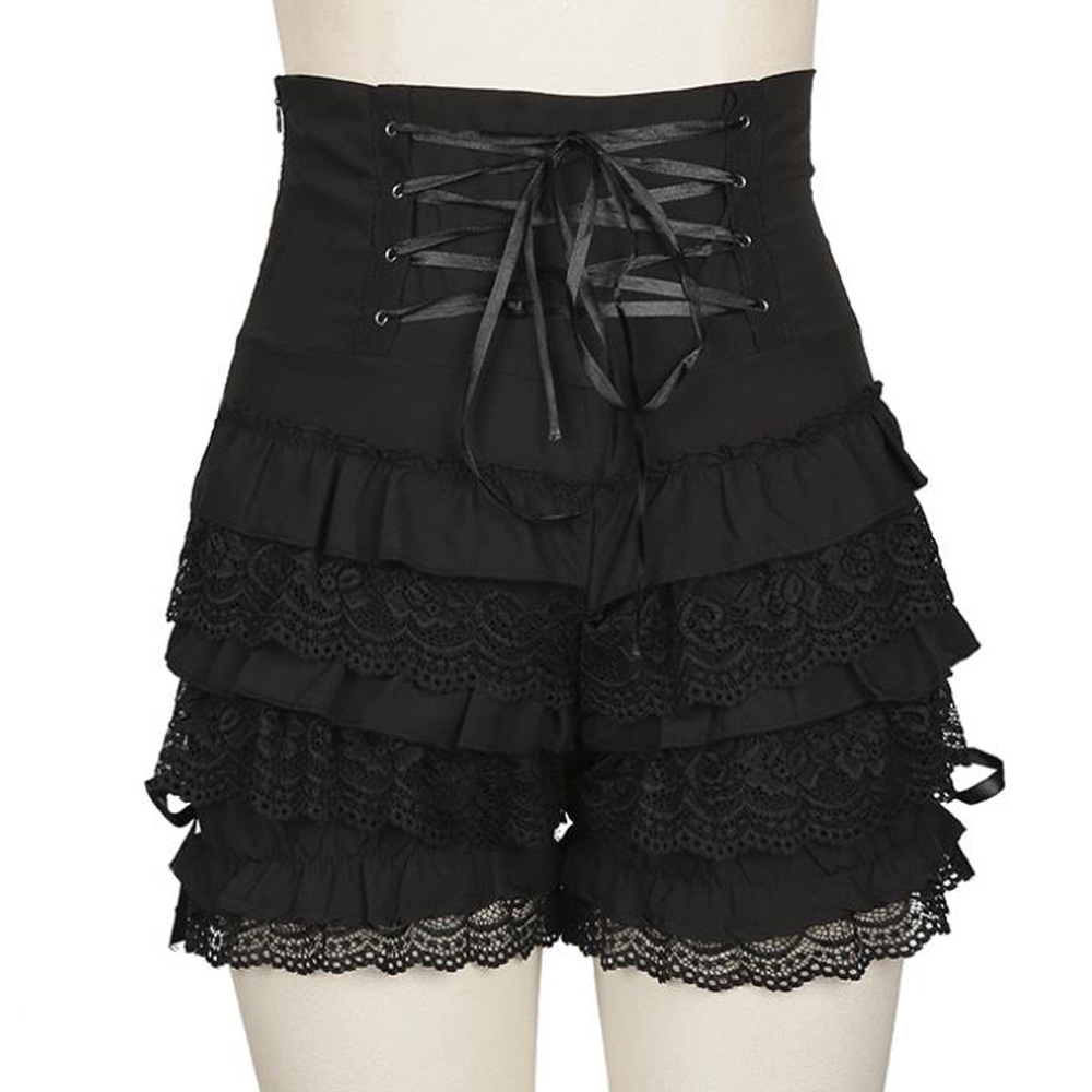 Medieval Lace Shorts Women Black High Waist Lace Up Bandage Retro Gothic Party Steampunk Vintage Ruffle Shorts Cosplay Bottoms