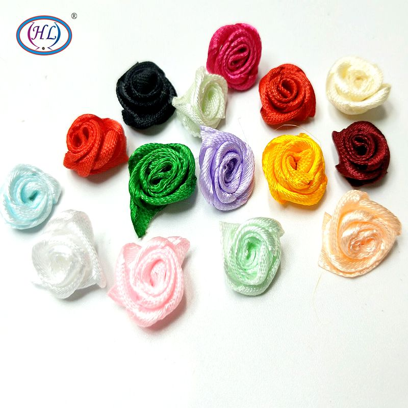 HL 60pcs 15mm Ribbon Rose Flowers DIY Appliques Wedding Decorations Crafts Supplies Lots Colors(China)