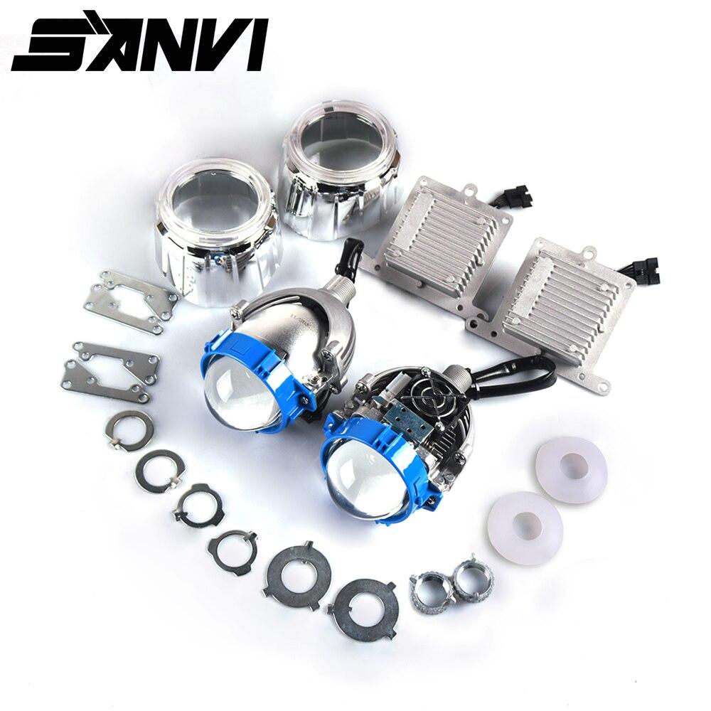 Sanvi 2.5 pouces 35 W 5500 K Bi LED phare Auto projecteur H4 H7 9006 lumière LED Kits de rénovation voiture moto phare