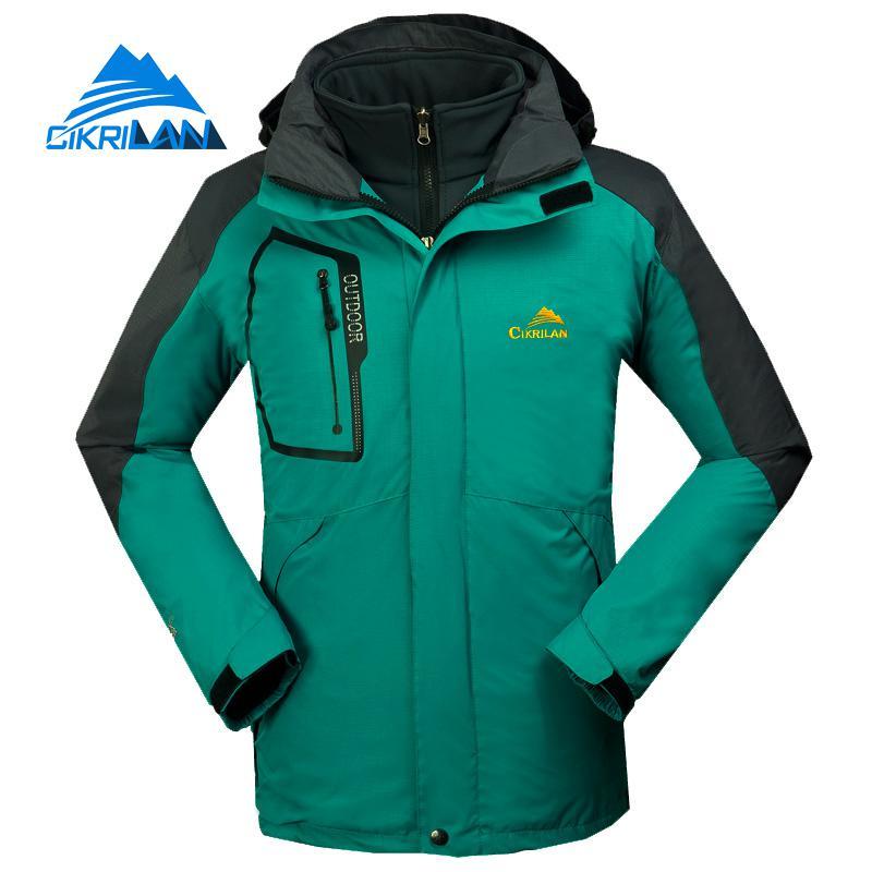 Winter 2in1 Warm Waterproof Hiking Camping Climbing Outdoor Jacket Men Windbreaker Coat Sport Fishing Skking Fleece