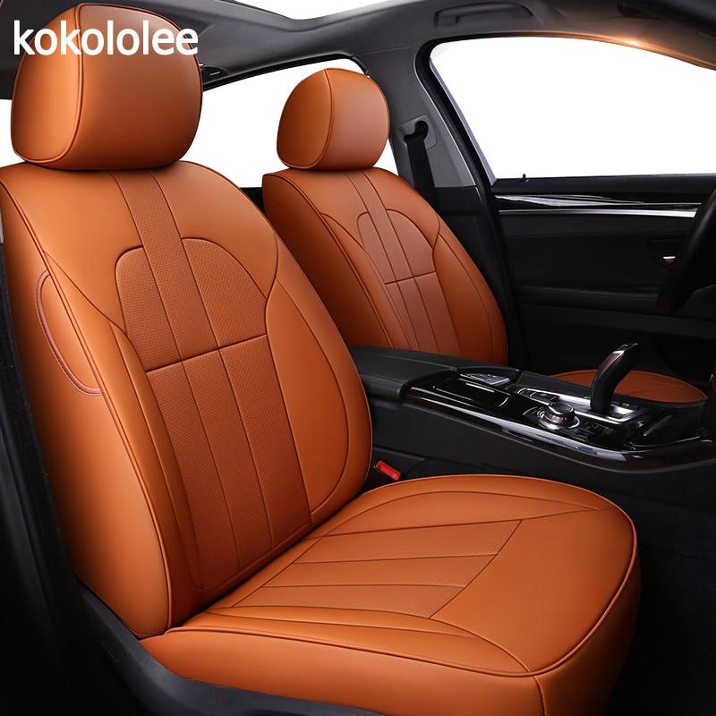 Kokolololee housse de siège de voiture en cuir véritable personnalisé pour Skoda Octavia 2 a7 a5 Fabia superbe rapide Yeti sièges de voiture protecteur coussin de voiture