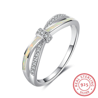 White Opal Stone BowKnot Design 925 Sterling Silver Rings For Women Elegant Jewelry Gifts For Girls