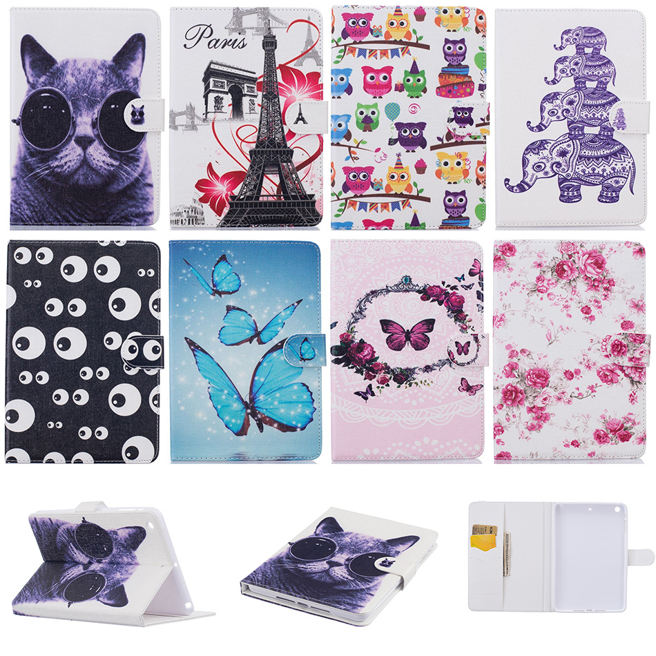 Fashion Butterfly Cat Pattern PU Leather Flip Case Funda For Apple iPad mini 1 2 3 mini2 mini3 7.9 inch Tablet Back Cover Coque