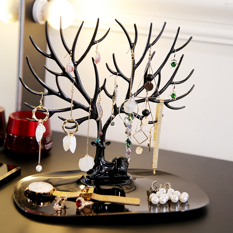 M Plastics Creative Jewelry Deer Tree Stand Display Organizer Necklace Ring Earring Holder Jewelry rack H39