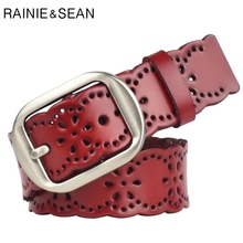 RAINIE SEAN Red Ladies Belt Female Genuine Leather Women Real Hollow Out Pin Buckle For Jeans 110cm