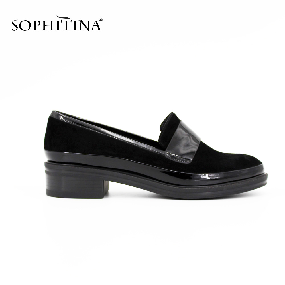SOPHITINA Low Heel Leisure Pumps Handmade Kid Suede+Patent Leather Casual Women Pumps Round Toe Genuine leather ladies shoes D05 starpad for lifan motorcycle lf250 p v250 new accessories chain